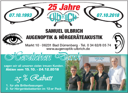 Geschäftsjubiläum - 25 Jahre Augenoptik und Hörgeräteakustik Ulbrich